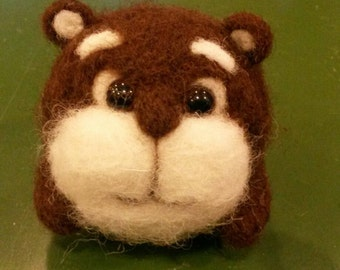 Hamster needle felted toy, happy wool hamster