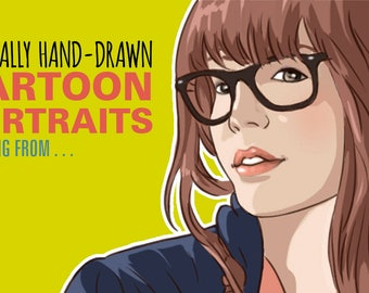 Realistic style cartoon portrait drawn from your photo