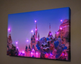 Disney wishes light up custom made canvas wall art photograph print