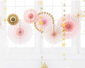 Pink and Gold Fan Decor Kit/ Deluxe Set Gold and Pink Fan Decor/ Fancy Pink and Gold Hanging Paper Fans/ Fancy Pink  and Gold Decorations