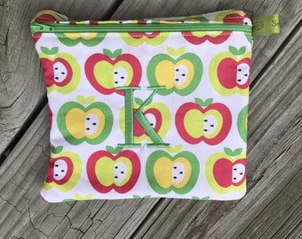 Reusable sandwich bag, Apples, Healthy Snack, Fitness Gifts, Zippered Sandwich Bag, Snack Bag, Monogrammed, Lunch, washable bag, lunch sack
