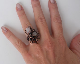 Copper Wire Ring, Adjustable size ring, Wire wrapped jewelry, Wire wrapped ring, Art ring, Boho ring, Gypsy ring, Rustic ring, Retro ring