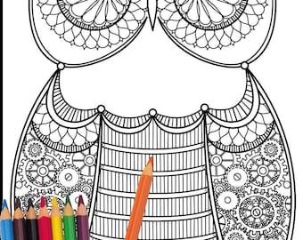Clockwork Owl Coloring page (digital download)