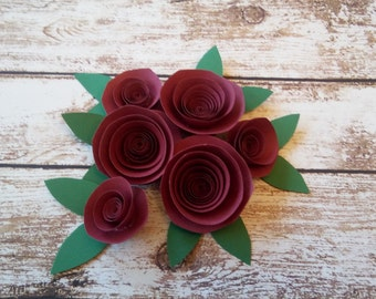 Red Paper Roses | Paper Rosettes | Wedding Decorations | Red Flowers | Paper flowers | Beauty and the Beast inspired roses
