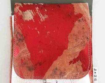 leather hip bag, red, red, incl. belt, festival bag, leather belt bag, fanny pack, leather, woman