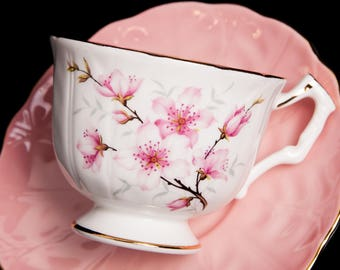 Pink Blossom Aynsley Bone China Teacup and Saucer