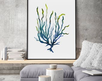 Seaweed Art Print, Giclee of Original Watercolor Painting, Minimalist Leaf, Neutical Wall Art, Sea Plant