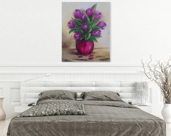 """Original Oil Painting on Canvas - """"Red Tulips"""""""