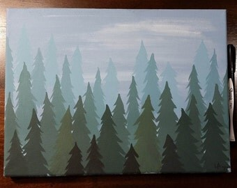 Misty Forest - Acrylic Painting on 9x12 Canvas
