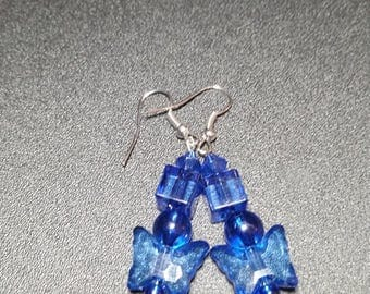 Dark Blue Crystal Butterfly Dangle Earrings