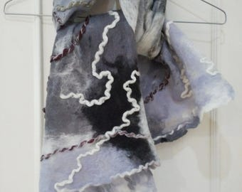 Handmade felted scarf Marble