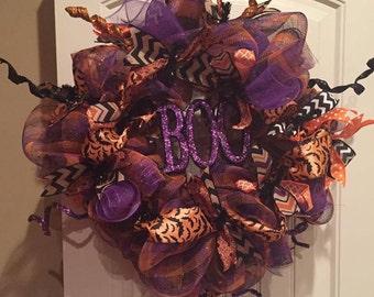 Halloween Boo deco mesh wreath