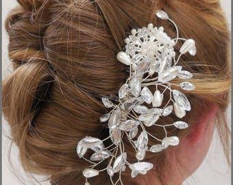 Wedding hair comb, vintage inspired bridal comb, hair piece, diamanté hair slide, pearl headpiece, crystal, bride, handmade, vintage style