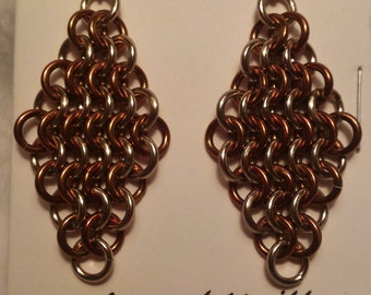 Champagne/Bronze Chain Maille (European 4-1) Earrings
