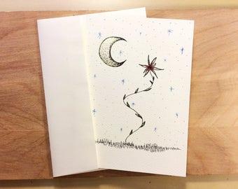 Crescent Fleur Greeting Card