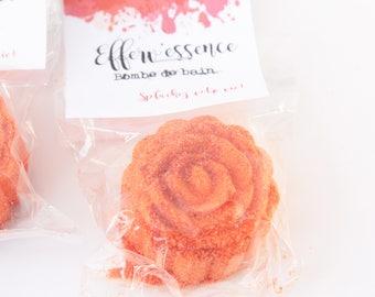 FLEUR Bombe de bain Orange Sanguine Huile essentielle / FLOWER Bath Bomb Blood Orange EO   / Bombe Effervescente / Boule Effervescente