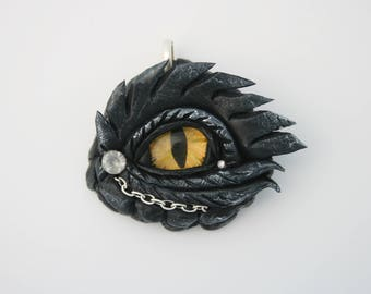 Dragon Eye Fantasy Age Sculpture or Necklace Pendant
