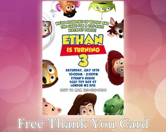 Toy story invitation etsy for Toy story invites templates free