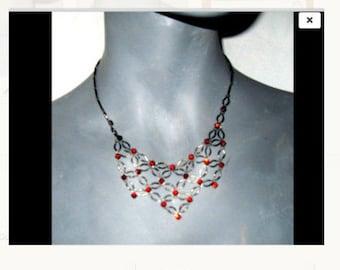 Vintage Style Chandelier Red/Garnet Rhinestone Gunmetal/Pewter Necklace