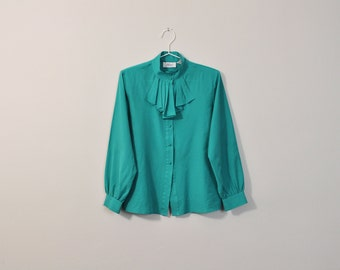 Vintage Secretary Blouse, Victorian Style Blouse, High Collar Blouse, Pleated Collar Blouse, Teal Blouse, Long Sleeve Button Up Loose Blouse