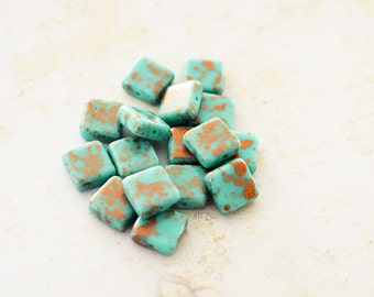 10 pearls square glass Czech, turquoise and copper, 10 x 10 mm