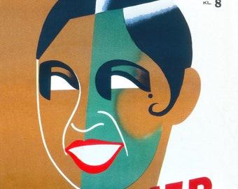 """1938 Josephine Baker, Stockholm Vintage Poster - 8.5"""" x 11"""""""