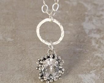 Sterling Silver Quartz Contemporary Bubbles Pendant Necklace