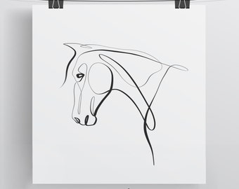 Equine With One Line - Limited Edition Pony Horse Print - Minimal Art