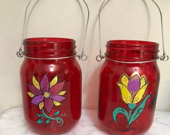 Mason Jar Candle Holder, Flower Vase, Storage Jar Red Purple, Yellow and green Painted