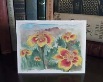 Marigolds blank card in watercolor -- sold in sets of 5 -- envelopes included