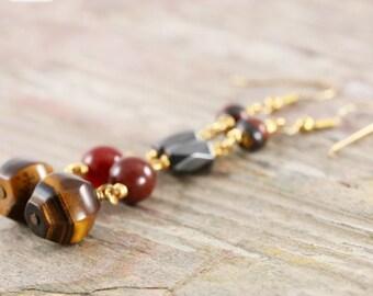 Magnetic tiger eye earrings in gold