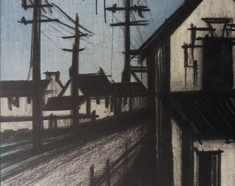 Bernard Buffet - lithograph signed referenced the village #MOURLOT road
