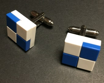 Lego cuff links - White and Blue Checkers