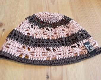 Crochet Beanie Hat Brown apricot size S