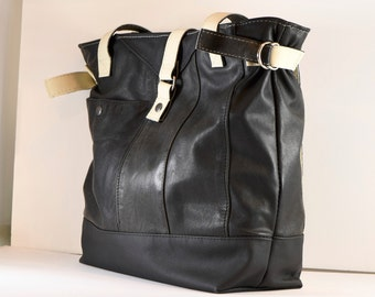 Black & White upcycled leather work tote
