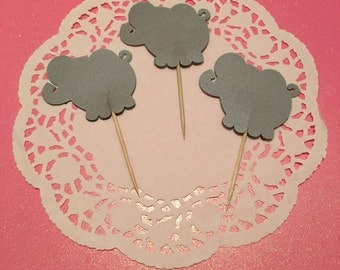 12 Elephant Cupcake Toppers