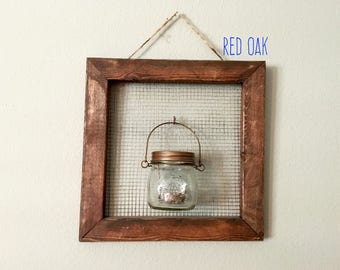 Rustic Picture Frame Wall Sconce Candle Holder - Distressed Wood with metal mesh backing