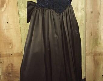 Vintage 80s Gunne Sax Dress Jessica McClintock Dress velvet dress satin dress party dress attached crinoline