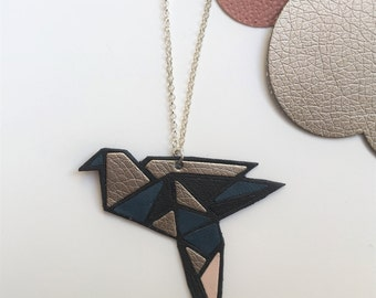 Origami bird necklace leather, graphic bird colored, leather