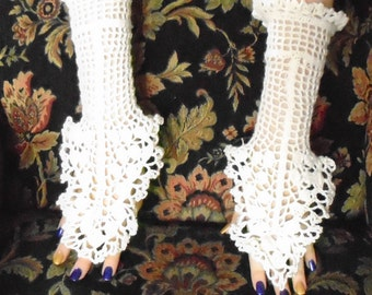 Irish Crochet Bridal Fingerless Gloves-Pair