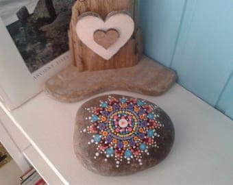 Mandala Stone, intricately hand painted pebble, painted rock from Cornwall, painted stone, paperweight.