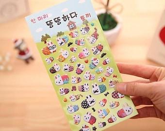 Kawaii Cartoon Bunnies Characters Puffy Stickers