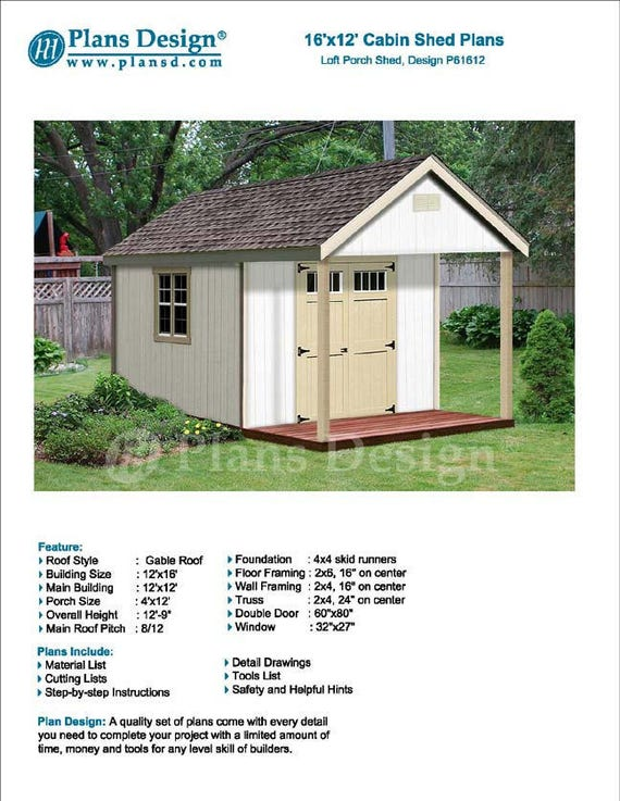 16 39 x 12 39 cabin guest house building covered porch for House plans with material list