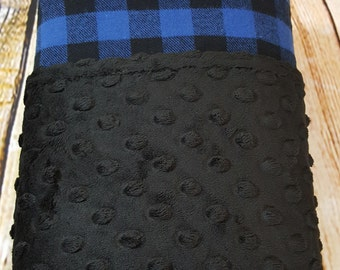 Blue and Black Buffalo Plaid Flannel and Minky Blanket