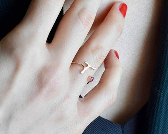 Personalized Bridesmaid Gift - Letter Ring - Rose Gold Initial Ring - Birthstone Ring - Personalized Ring - Custom Ring - Mother's Day Gift