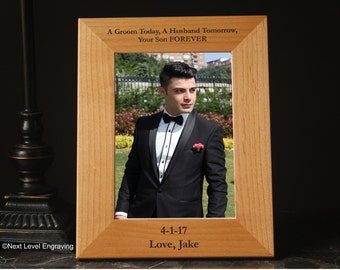 Mother of the Groom Gift from Groom Wedding Parent Gift Personalized Engraved Wood Photo Frame Grooms Mother Gifts