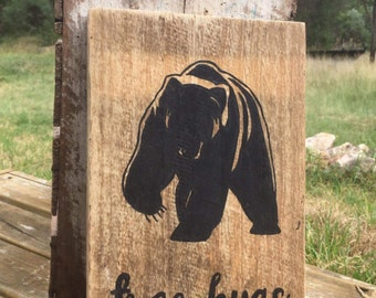 Woodland Creatures Recycled Timber Sign feat. Bear