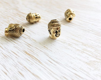 22k Gold Plated Buddha Head Bead by Tierracast 14mm / 4pc, Large Hole Golden Buddha Charms, Buddhist Jewelry, Yoga Charms, Zen (T94571826)