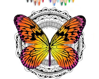 Lace Butterfly Coloring Page Digital Stamp Adult Color And Relax Line Art Printable Gift