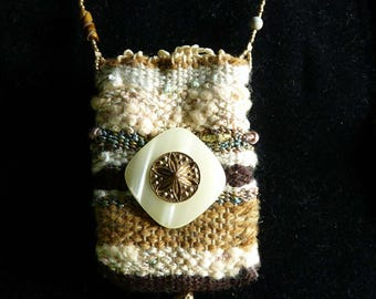Handmade Necklace with Woven Amulet Pouch - Carry your Secrets - Handmade Necklace